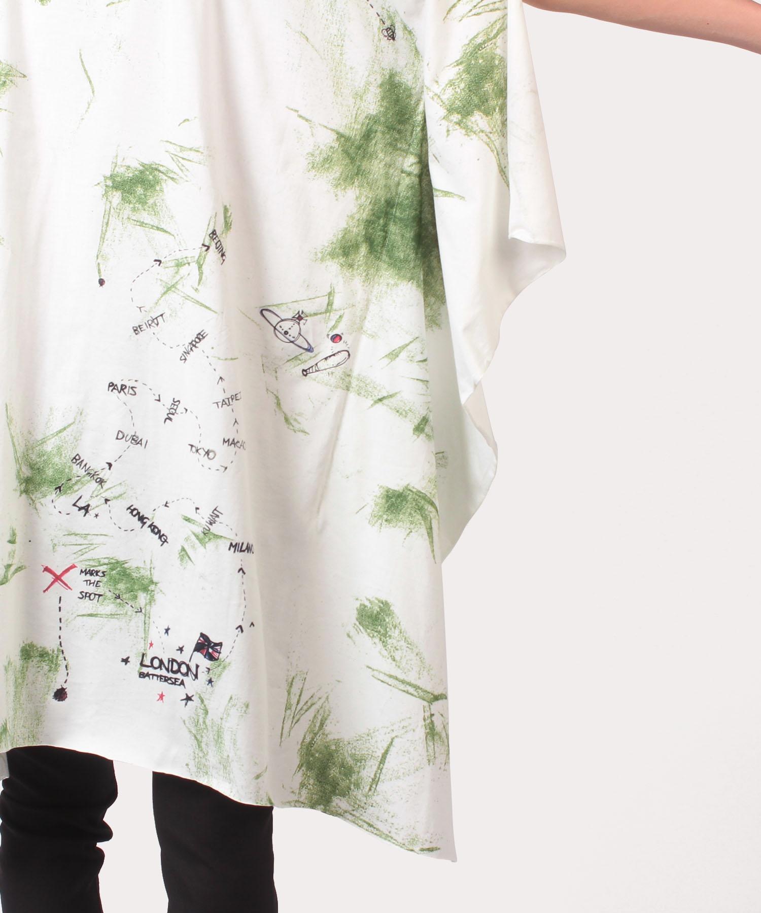 ピクニック エレファントドレープチュニック半袖Tシャツ