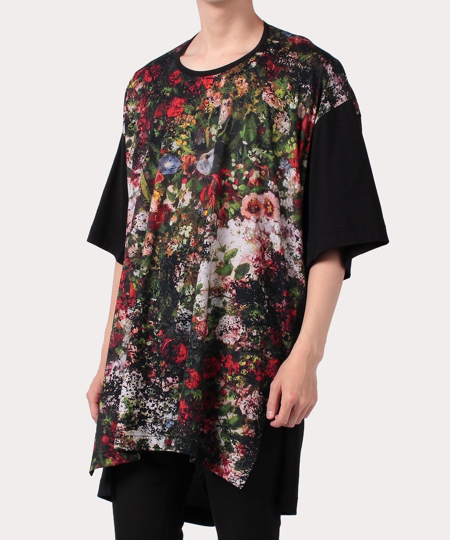 フラワーブーケプリント ビッグロング半袖Tシャツ