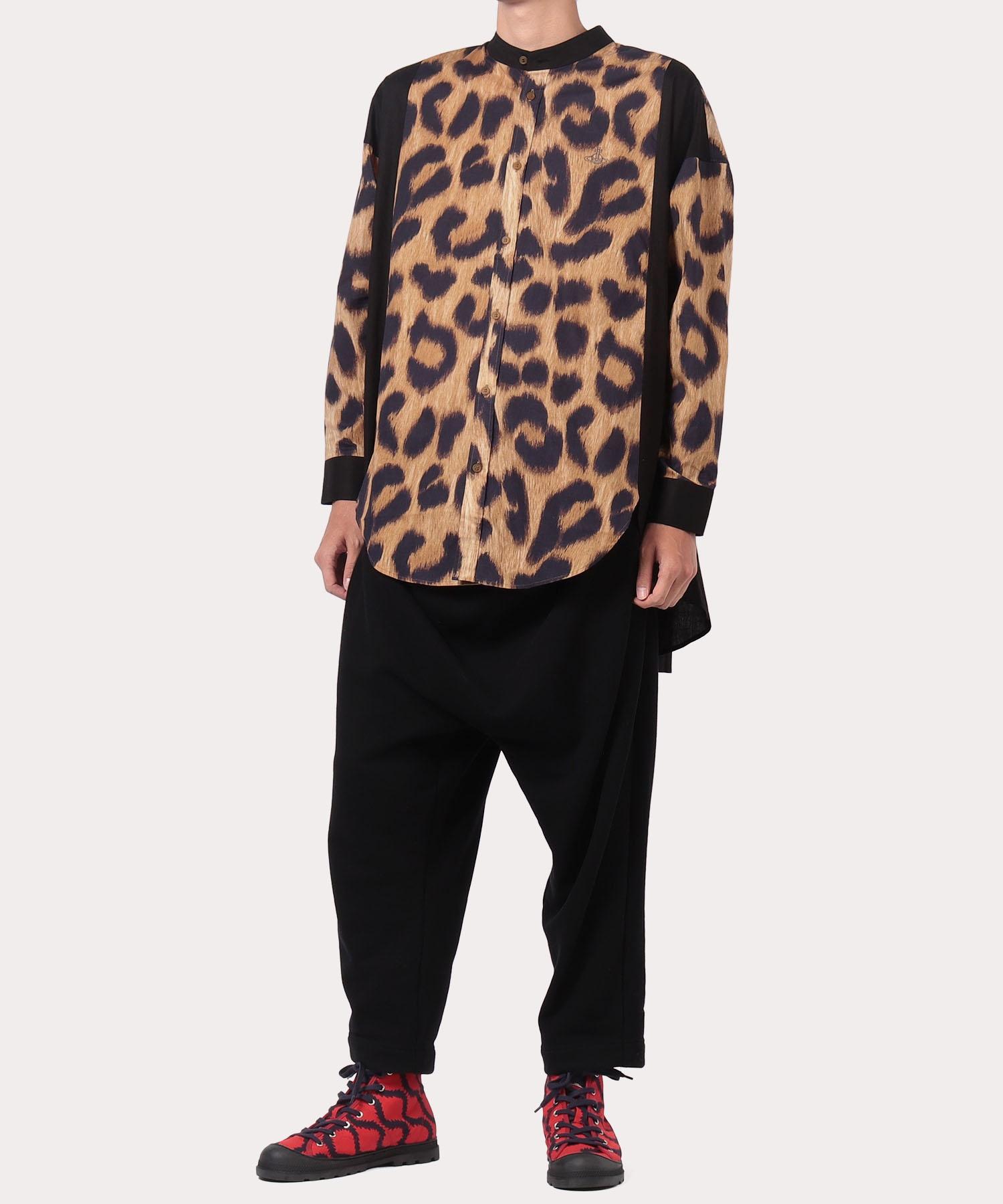 【一部店舗限定】レオパード バンドカラー チュニックシャツ
