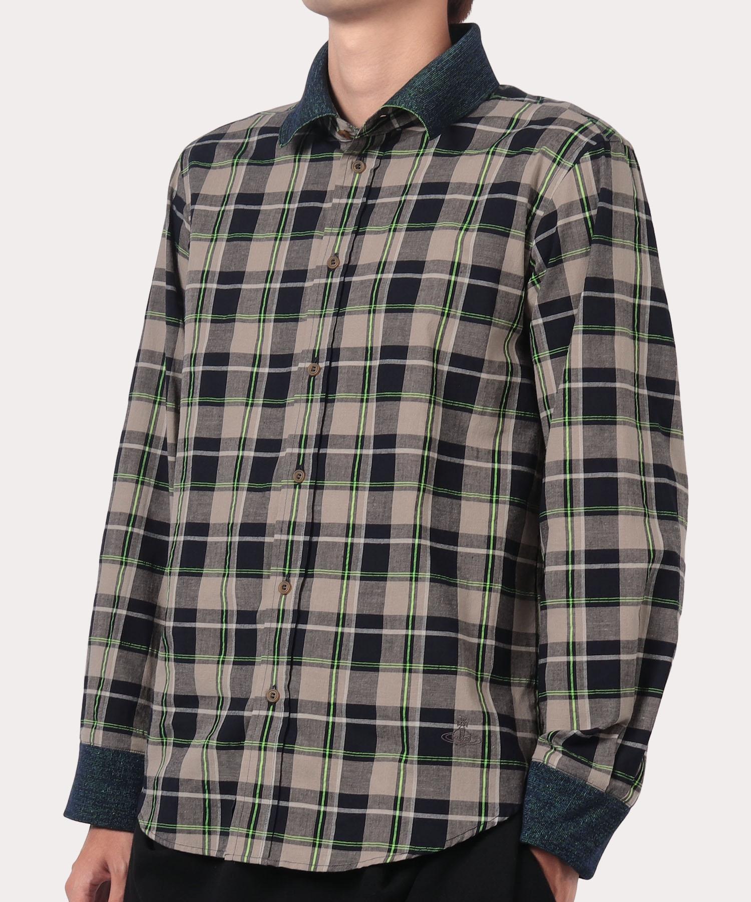 チェック ショートカラーシャツ