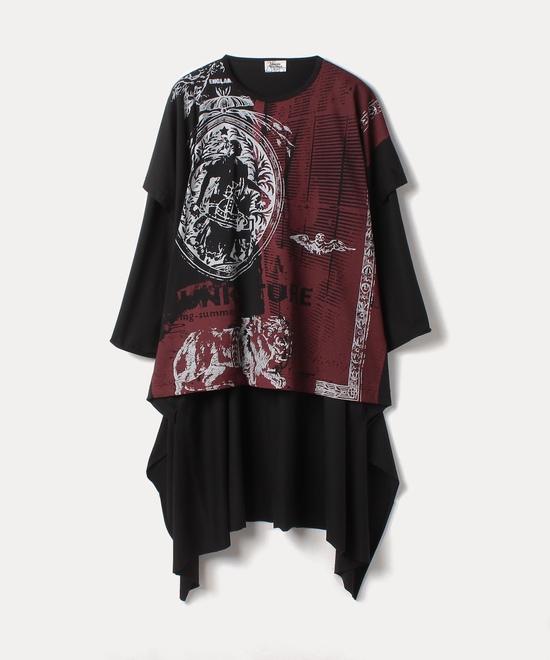 PUNKATURE エレファントドレープチュニック半袖Tシャツ