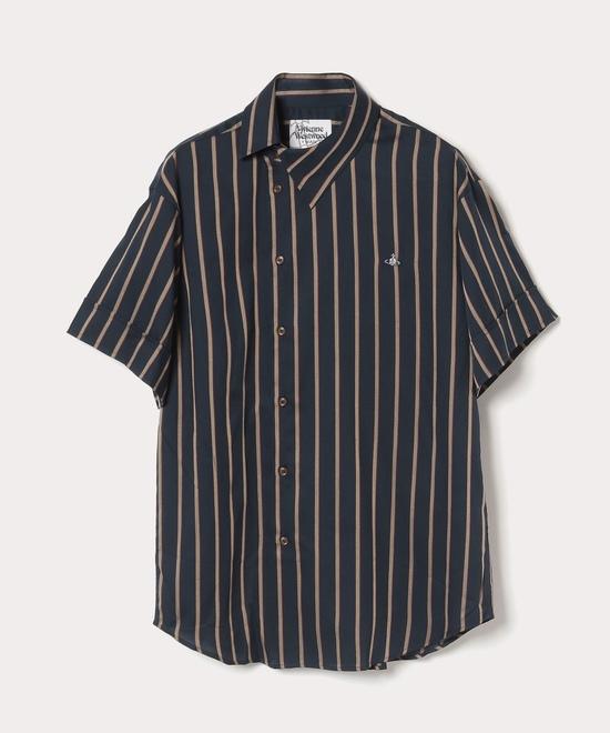 ダークストライプ オジークラーク半袖シャツ