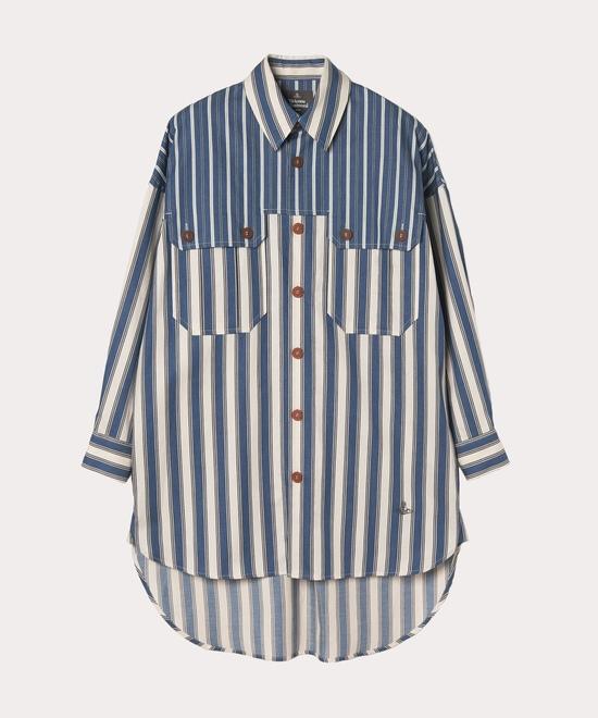 ストライプブロッキング ロングシャツ