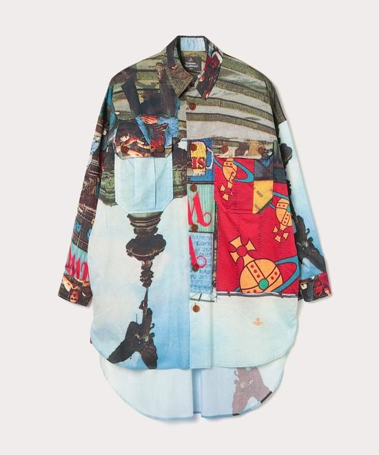 ピカデリープリント ロングシャツ