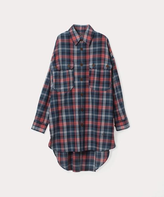 スモーキーチェック  ロングシャツ