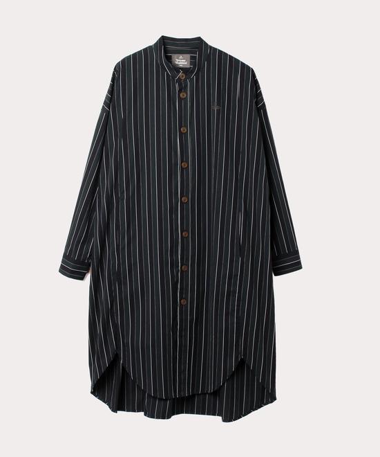 バンドカラーチュニック ロングシャツ