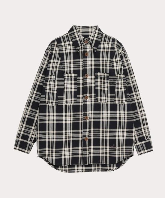 プリーツポケット チェックシャツ