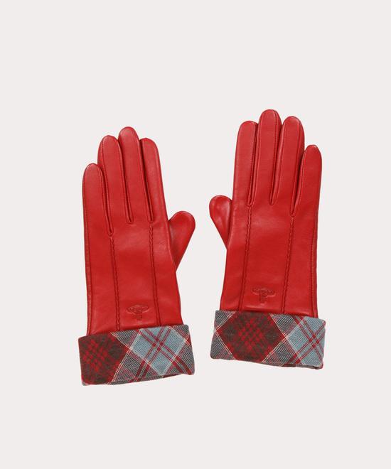 タータンカフス レザー手袋