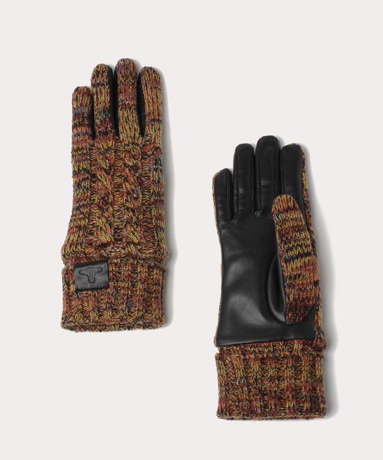 メランジニット&レザー 手袋