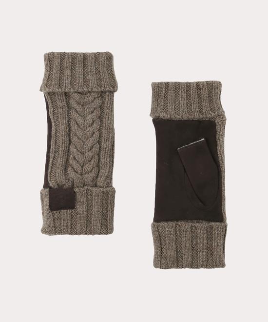ケーブル編み フィンガーレスニット手袋