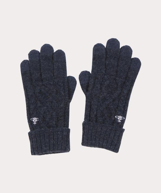 ケーブル編み メンズニット手袋