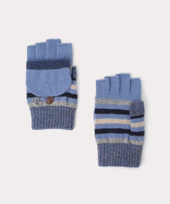 ボーダー メンズフード付き手袋