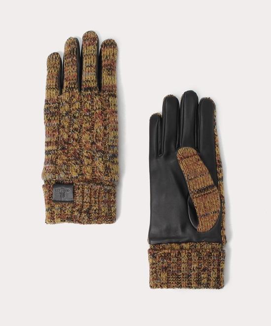 メランジニット&レザー メンズ手袋