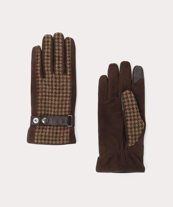 チェック&ベルト メンズ手袋